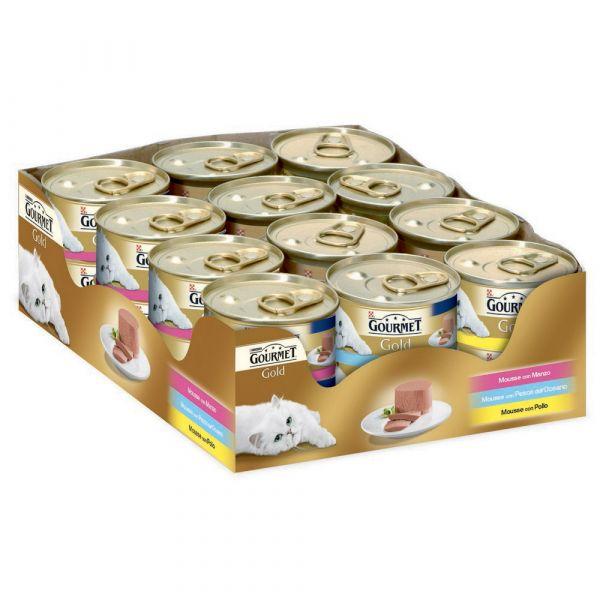 Gourmet gold vassoio mousse 3 gusti gr. 85 x pz.24