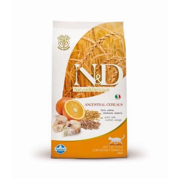 N & d low ocean grain con merluzzo e arancia secco gatto kg. 1,5
