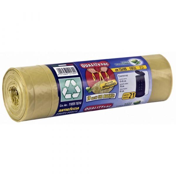 Sacco per raccolta differenziata con maniglie giallo 110lt