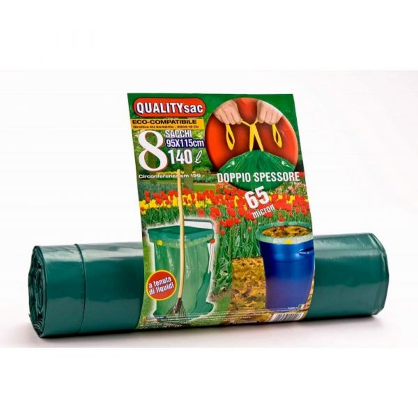 Sacco super spessore con maniglie verde 140lt