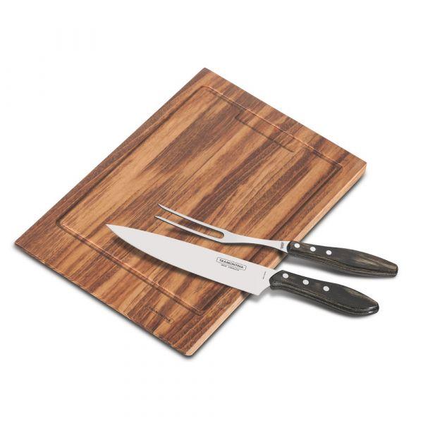 Set forchettone + coltelli + tagliere tramontina