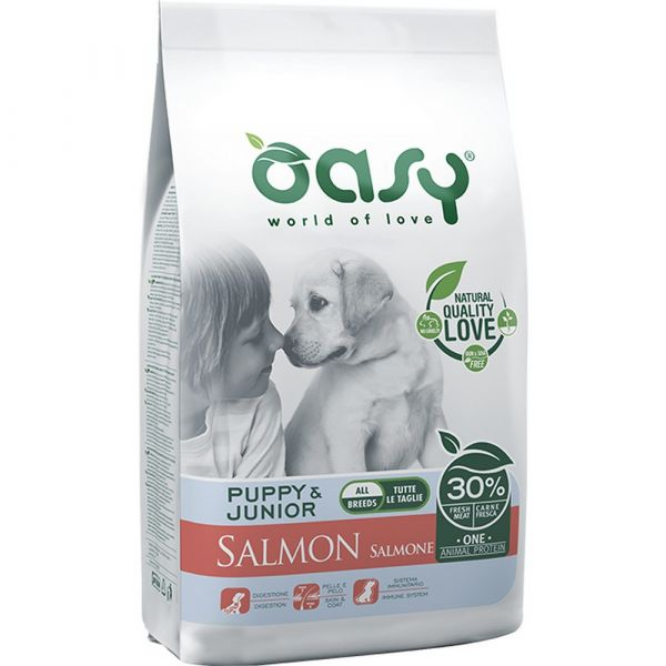 Oasy one protein secco cane puppy al salmone 2,5kg