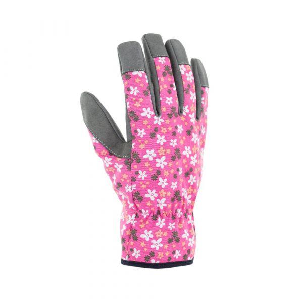 Guanti fleurs rose