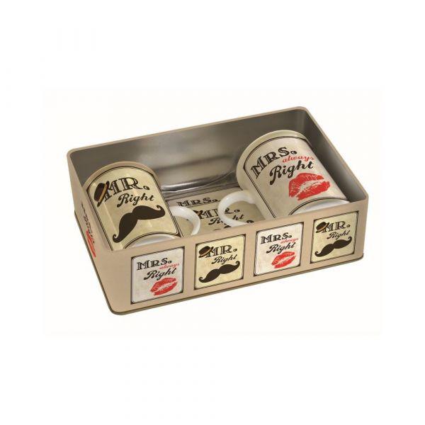 Set 2 tazze con sottobicchieri in sughero in scatola di metallo