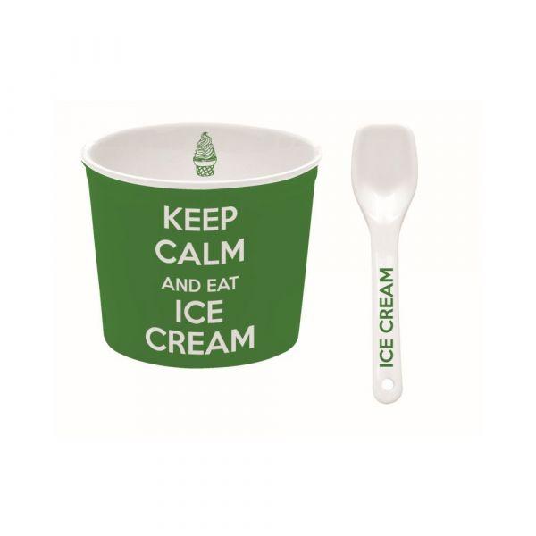 Ciotola per gelato verde con cucchiaino