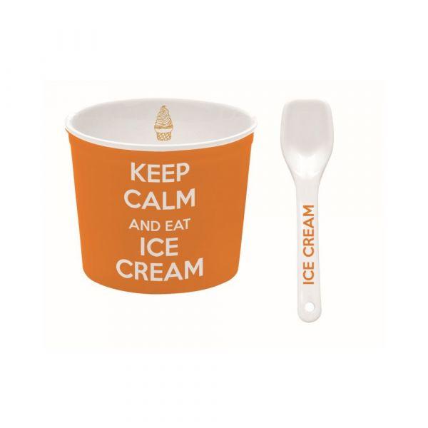 Ciotola per gelato arancio con cucchiaino