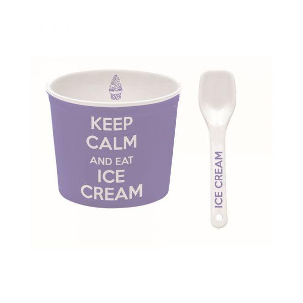 Ciotola per gelato lilla con cucchiaino