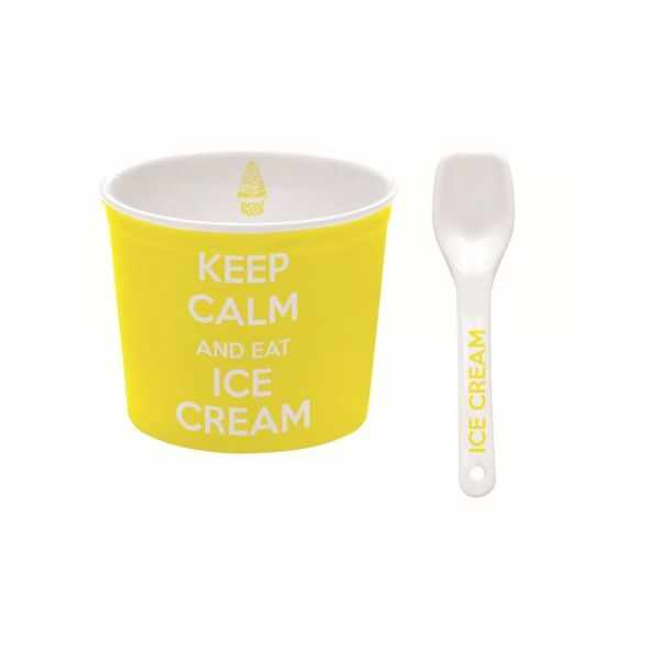 Ciotola per gelato gialla con cucchiaino