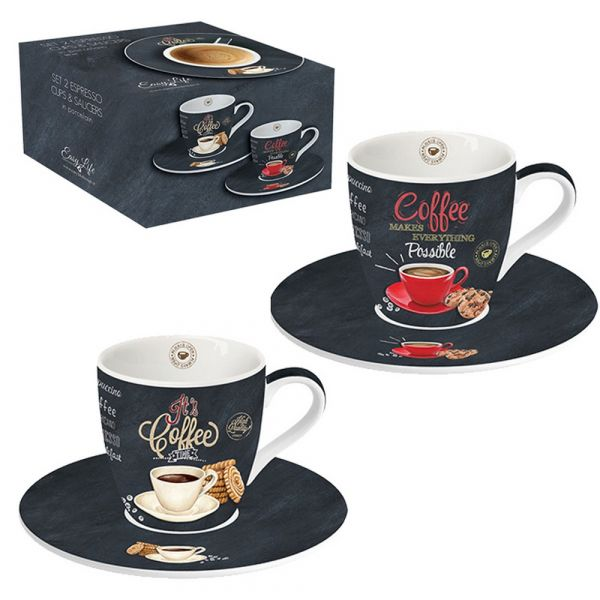 Set 2 tazzine da caffe con piattino in confezione regalo