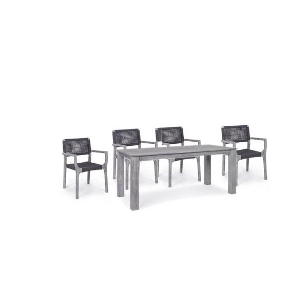 Tavolo da giardino con 4 sedie haiti in legno