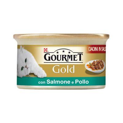 Gourmet gold dadini con salmone e pollo in salsa umido gatto gr. 85