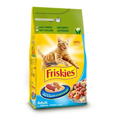 Friskies adult con salmone e verdure aggiunte secco gatto kg. 2