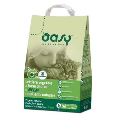 Oasy lettiera vegetale a base di orzo e repellente naturale lt. 6