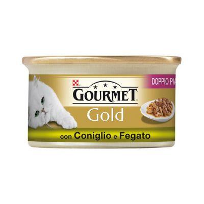Gourmet gold doppio piacere con coniglio e fegato umido gatto gr. 85