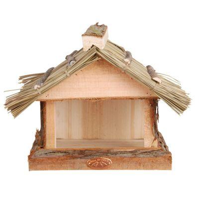Mangiatoia con tetto in paglia