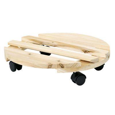 Sottovaso con ruote tondo in legno