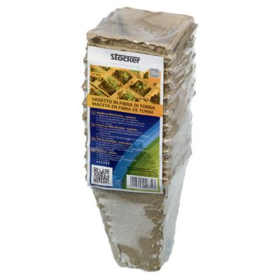 Vasetto quadrato di fibra di torba pz. 12