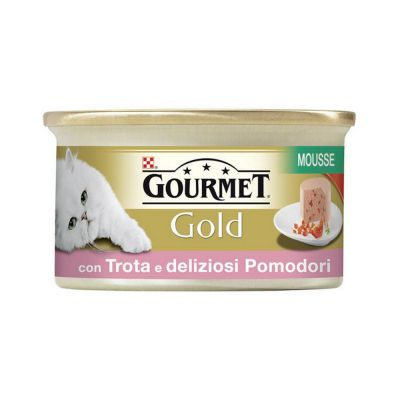 Gourmet gold mousse con trota e pomodori deliziosi umido gatto gr. 85