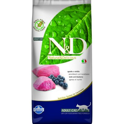 N & d grain free con agnello e mirtillo secco gatto kg. 5