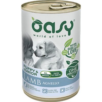 Oasy one protein umido cane puppy all'agnello 400gr