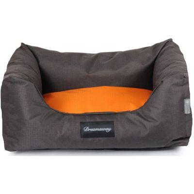 Petit sofa boston marrone-arancione