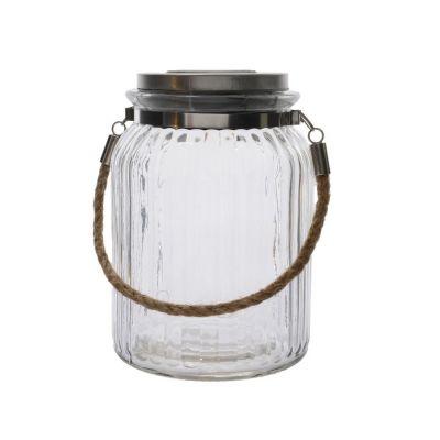 Vaso in vetro mason con luce a led a ricarica solare