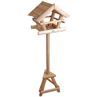Mangiatoia in legno e tetto in paglia con supporto