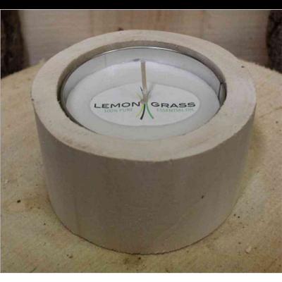Candela lemon grass anti zanzare in ceppo di legno nordic