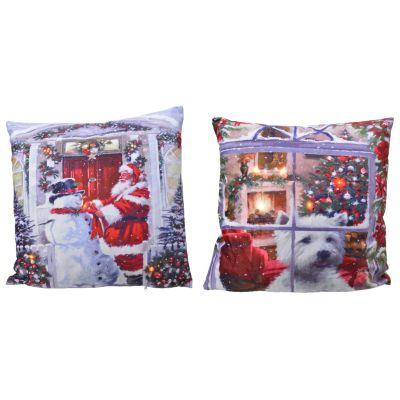 Cuscino natalizio con lucine led assortito 45x45 cm