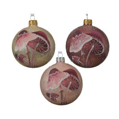 Palla di Natale glitter mushroom 3cls Ø 8CM