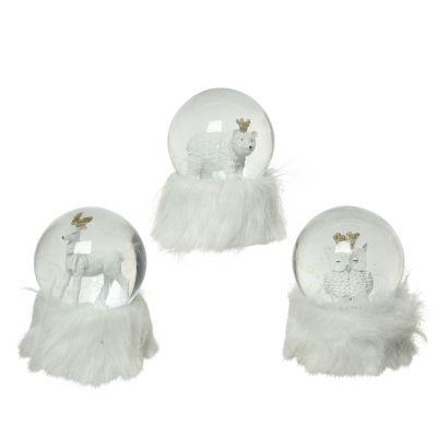 Poly snow globe w fur assortito ow
