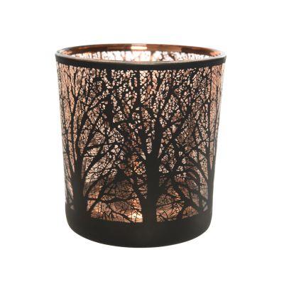 Porta tealight con albero disegnato a laser 8x7,3 cm