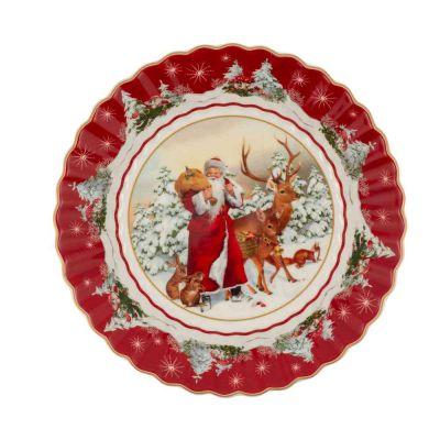 Ciotola grande Babbo Natale e animali del bosco 25x25x5 cm