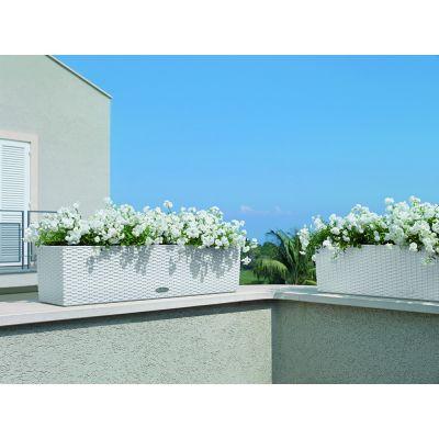 Balconera cottage lechuza con set di irrigazione bianco cm. 80
