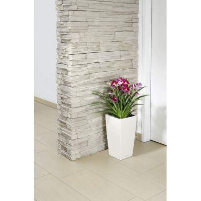 Vaso cubico lechuza con set di irrigazione bianco cm. 40
