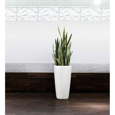 Vaso rondo lechuza con set di irrigazione bianco cm. 32