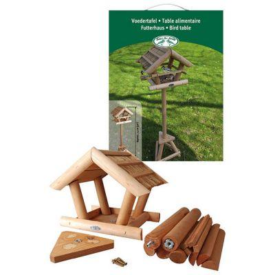Mangiatoia in legno con tetto di paglia