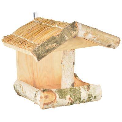 Mangiatoia per granaglie in legno rustico e corteccia