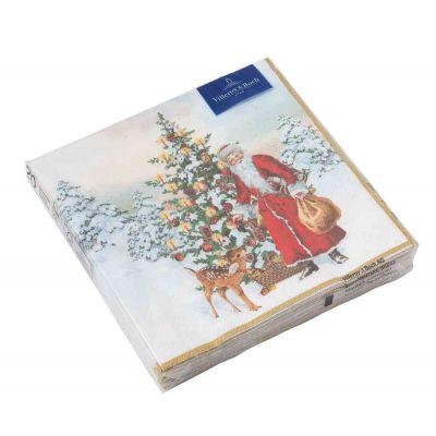 Tovagliolo Babbo Natale con abete rosso  33x33cm