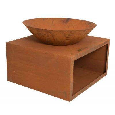 Braciere in metallo Corten con deposito legna