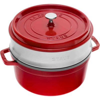 Cocotte in ghisa con vaporiera 26 cm