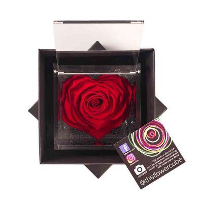 Rosa stabilizzata  a forma di cuore rossa in elegante scatolina 10x10 cm