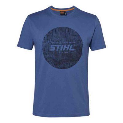T-shirt wood circle blu