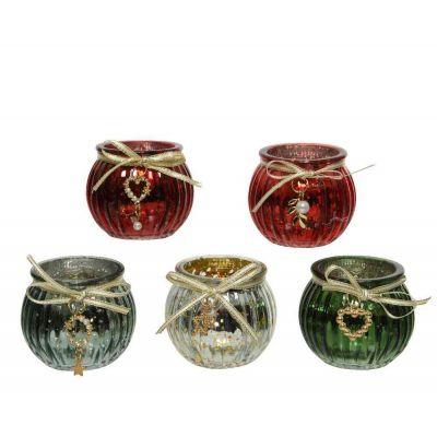 Porta tealight vetro anticatoue g candele natalizie assortito Ø 6,50-H5,50cm