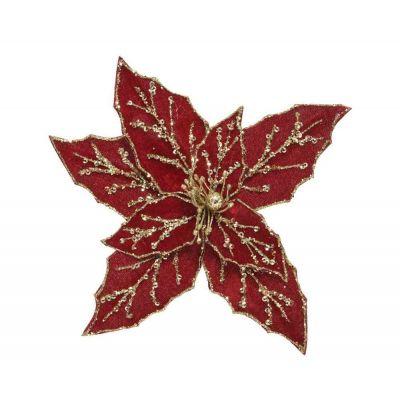 Fiore Stella di Natale finto poinsettia con clip natale Ø 20-H5 cm