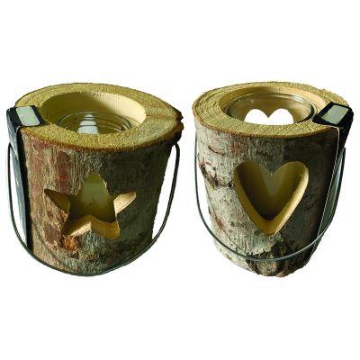 Lanterna in legno stella/cuore cm. 16x18