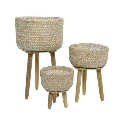 Vaso in bamboo con gambe