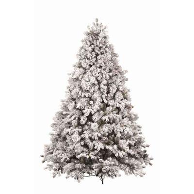 albero di natale stella floccato con pigne 240cm