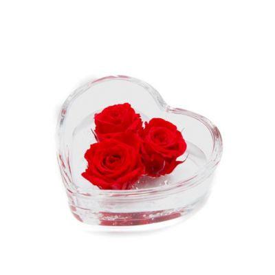 Cuore di rosa 3 rose rosso