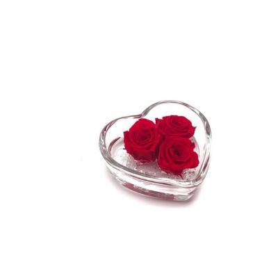 Cuore di rosa | 3 rose stabilizzate